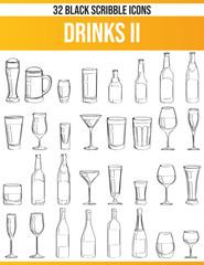 Scribble Black Icon Set Drinks II