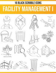 Scribble Black Icon Set Facility Management I