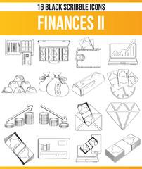 Scribble Black Icon Set Finances II