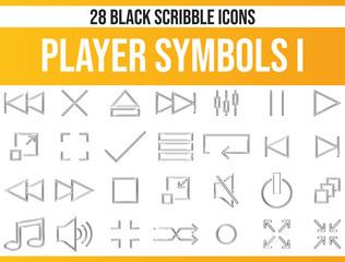 Scribble Black Icon Set Player Symbols I