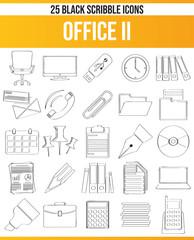 Scribble Black Icon Set Office II