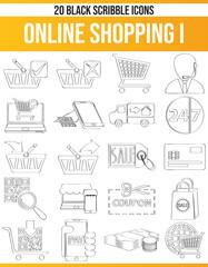Scribble Black Icon Set Online Shopping I