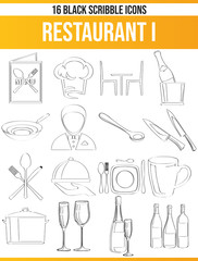 Scribble Black Icon Set Restaurant I