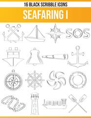 Scribble Black Icon Set Seafaring I