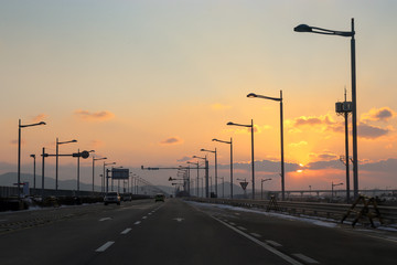 Sunset on the way to Incheon international airport