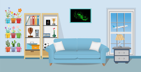 Retro colorful living room interior design. Flat style vector illustration