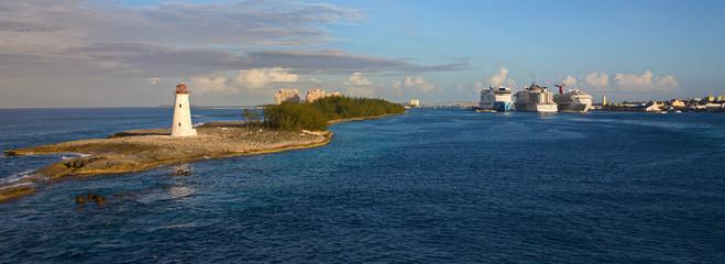Nassau Lighthouse with Cruise Ships