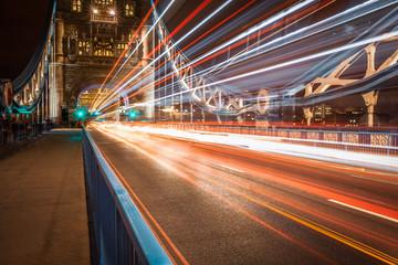 Colorful light trails at Tower Bridge, London, United Kingdom
