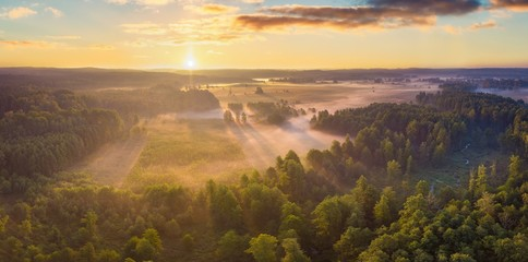 Beautiful foggy morning landscape photographed from above Fototapete