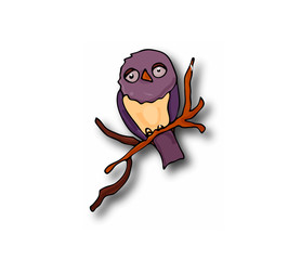 clipart doodle owl on a branch with a shadow