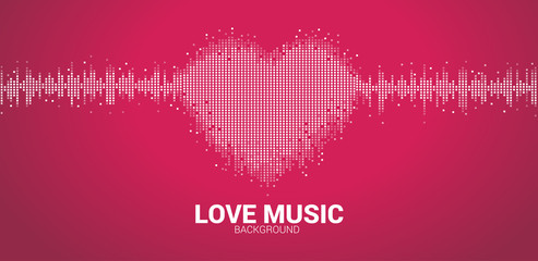 Sound wave heart icon Music Equalizer background. love music visual signal pixel style