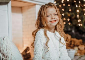Small happy girl. Christmas