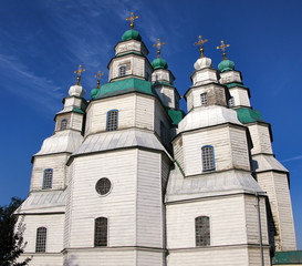 The largest wooden church of Ukraine and a UNESCO World Heritage Site, Nine-Dome Holy Trinity Cathedral, built about 1778 without any nails in Novomoskovsk.