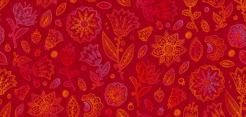 Red and orange doodle flowers in line art style vector seamless vintage pattern tile