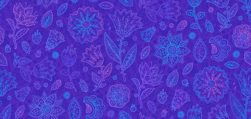 Blue and violet doodle flowers in line art style vector seamless vintage pattern tile