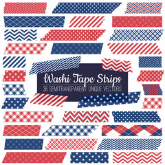 Patriotic Red, White and Blue Washi Tape Strips with Torn Edges & Different Patterns. 36 Unique Semitransparent Isolated Vectors. Photo Sticker, Print / Web Layout Element, Clip Art, Embellishment