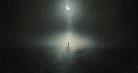 Surreal horror scene with alone strange man in dark night forest Wall mural