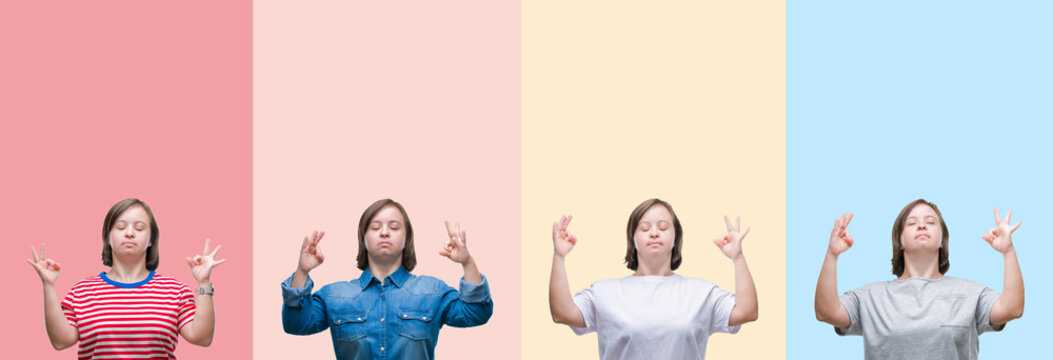 Collage of down syndrome woman over colorful stripes isolated background relax and smiling with eyes closed doing meditation gesture with fingers. Yoga concept.