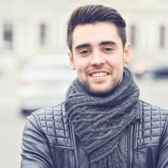 Closeup portrait of beautiful handsome man