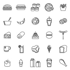 Popular food line icons on white background