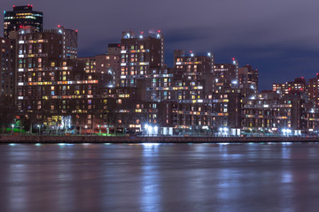 View on Roosevelt island from east river at night with long exposure