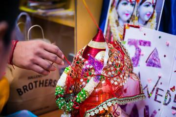 Indian pre wedding ceremony haldi pooja ritual items close up