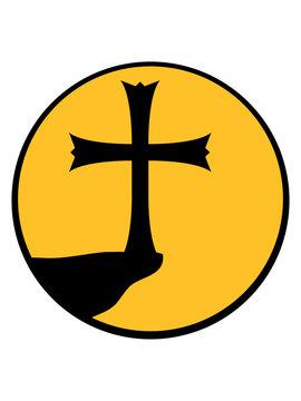 berg klippe mond nacht rund kreis kirche symbol kreuz jesus christus christ katholisch evangelisch glauben religion gott beten heilig engel sohn gottes symbol bibel logo design