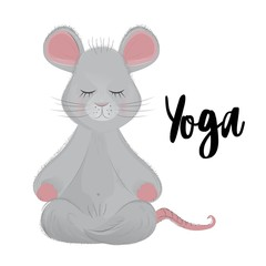 the mouse sits in a Lotus position and meditates and next to the inscription Yoga on a white
