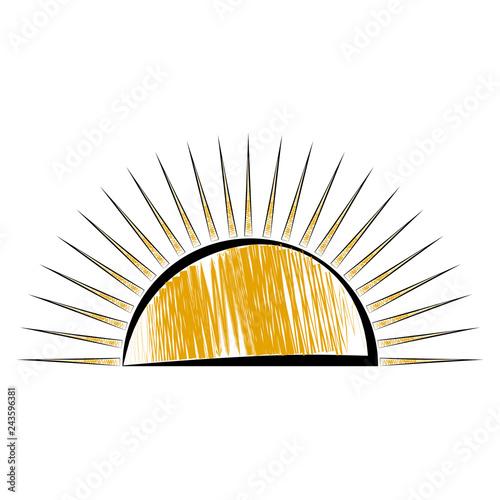 quotsketch of a half sun icon vector illustration design