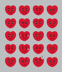 Cartoon Heart Kid Face Emoticons Vector Illustration