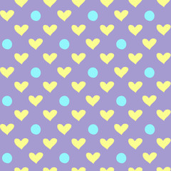 seamless pattern drawing blue circles and yellow hearts on a lilac background, festive decor in the style of flat