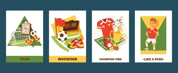Football cards vector illustration set. Invitation for match or championship. Cartoon professional football player like a star. Champion time for winners in tournament.