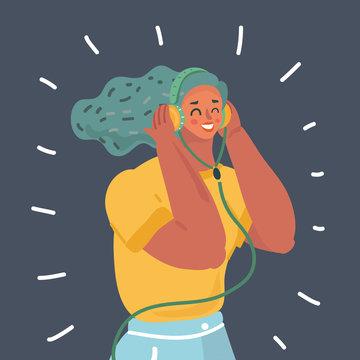 Woman in earphones.