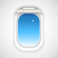 Sky view outside plane window