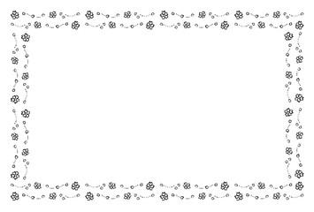 桜のフレーム 手描き 黒1色