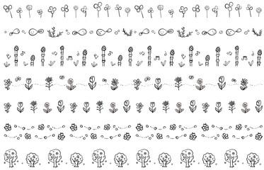 春の飾り線 手描き 白黒
