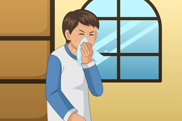 Sick Man Blowing His Nose on a Tissue Illustration
