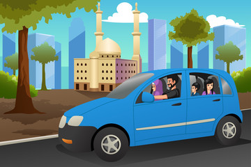 Muslim Family Driving in a Car Illustration