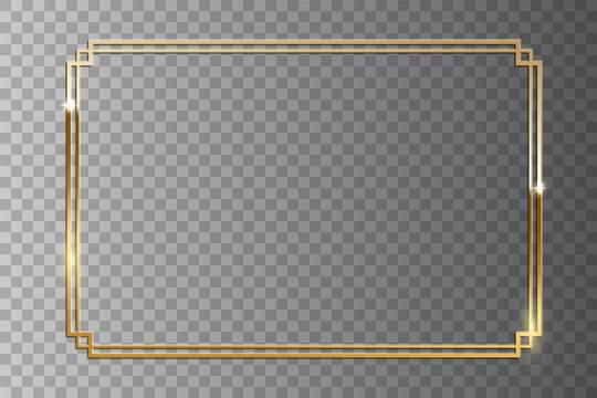 Golden shiny retro frame isolated on transparent background. Vector vintage design element.