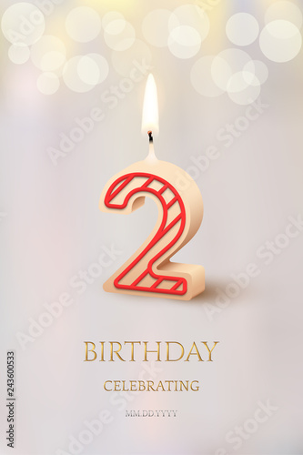 Burning Number 2 Birthday Candle With Celebration Text On Light Blurred Background Vector Secod