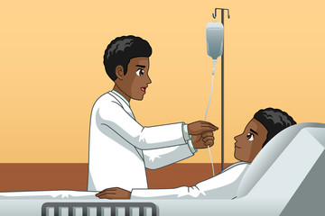 African Doctor With a Patient Illustration