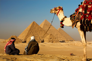 pyramids giza cairo in egypt with bedouins and camel in foreground