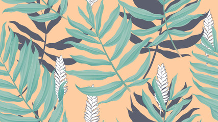 Tropical seamless pattern,  green Dypsis lutescens or yellow palm with flowers on orange background, vintage style