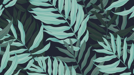 Tropical seamless pattern, green Dypsis lutescens or yellow palm on dark blue background, pastel vintage style