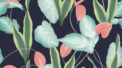 Tropical seamless pattern,  red Anthurium flowers, dumbcane, snake plant on dark blue background, pastel vintage style
