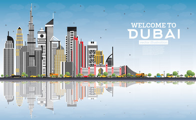 Welcome to Dubai UAE Skyline with Gray Buildings, Blue Sky and Reflections.