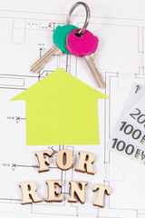 Inscription for rent, home keys and currencies euro on electrical construction housing plan, concept of renting house or flat