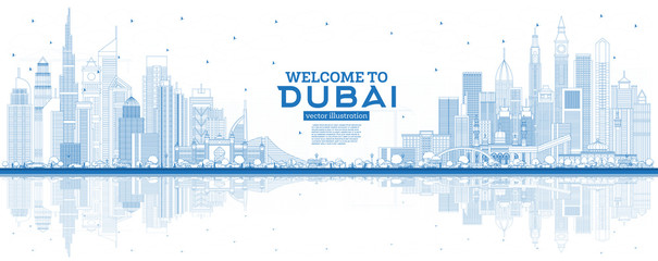 Outline Welcome to Dubai UAE Skyline with Blue Buildings and Reflections.