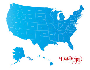 Map of The United States of America (USA) with States Name in Blue Color Illustration on White Background.
