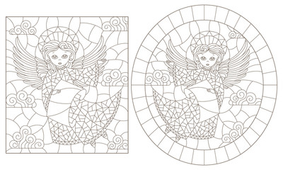 Set of contour illustrations of stained glass with angels, oval and rectangular image, dark contours on a white background